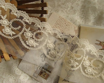 ivory lace trim, embroidered lace trim