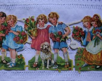 Vintage  die cuts.Originals die cuts.Germany die cuts.Crafts.Embossed die cuts.Victorian.Romantic.Scrapbook.Spring.Vintage children.Flowers.