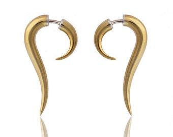 Fake Gauge Earrings - Talon Earrings - Cheaters Brass - Mens Earrings - Split Expanders - Tribal Earrings - Festival Earrings