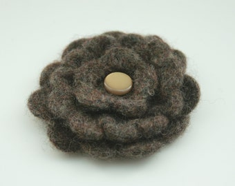 Pure Wool Flower Corsage - Soft Brown