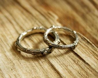 Silver Twig Wedding Rings: Rustic Wedding Rings, Commitment Rings, Branch Rings, Unusual Wedding Bands, Woodland Wedding