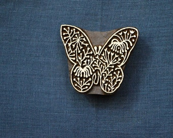 Wood Block Art, Textile Printing Block, Hand carved Butterfly Stamp, Pottery Stamp Wooden Stamp India, Stamp, Stamp Blocks
