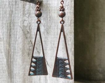 Copper Earrings, Boho Jewelry, Bohemian Jewelry, Boho Earrings, Bohemian Earrings, Rustic Earrings, Turquoise Earrings, Ethnic Earrings