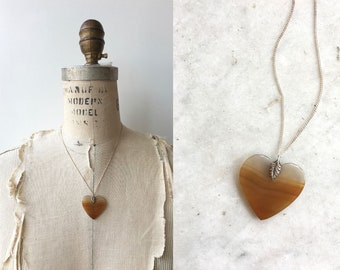 Desert Heart necklace | vintage 1970s agate necklace | 70s heart necklace