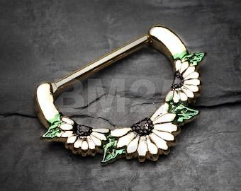 A Pair of Golden Daisy Garden Icon Nipple Clicker