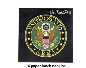 US Army lunch napkins, military wedding, boot camp graduation, officers retirement, veterans reunion, officially licensed, paper tableware
