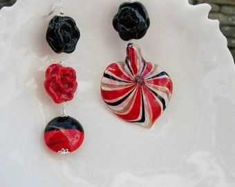 Huge Murano Glass Mismatched Earrings