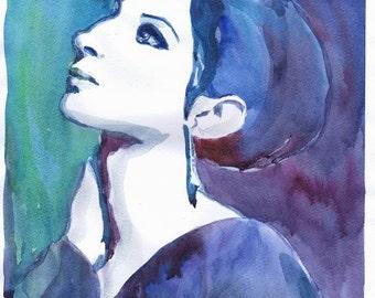 Barbara Streisand Watercolor painting Bbarbra Streisand, illustration Celebrity Portraits Old hollywood Girl painting Portrait painting