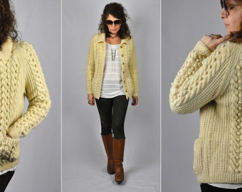 SALE Chunky Knit Cardigan - Cable Hand Knitted WOOL Sweater Cardigan - Popcorn Knit Cardigan - Fisherman Ireland Sweater Cardigan Xs S