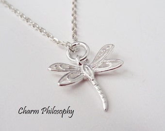 Dragonfly Necklace - 925 Sterling Silver Jewelry - Small Dragonfly Charm