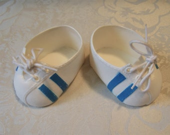 Vintage Cabbage Patch Kid Doll Shoes~Blue Striped Sneakers