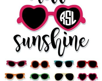 SALE! Hello Sunshine SVG dxf jpg png cut file | Sunglasses Monogram | Sunglasses SVG | Summer Svg | Beach Svg | Summer & Sunglasses Clipart