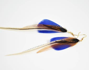 Blue feather earrings long grizzly feather
