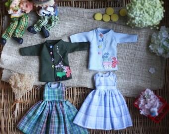 Farmer girl set* / Set of 2 Pcs / Doll clothes for Neo Blythe , Pullip ,Licca dolls.