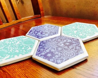 Paisley and floral coaster set. (Set of 4)
