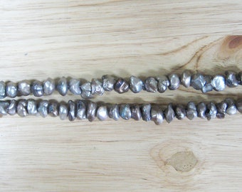 """Grey Freshwater Pearl Nuggets - 15"""" Strand (6-9mm)"""