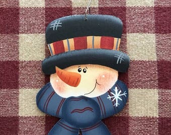 Funny Face Snowman Black Hat Blue Scarf with Snowflake Hand Painted Ornament