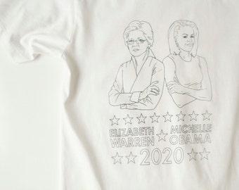 the FUTURE 2020 election shirt Elizabeth Warren & Michelle OBAMA democratic ticket ACLU fundraiser t-shirt