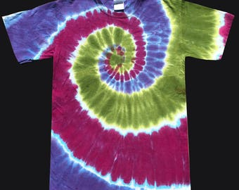 Adult Tie Dye Shirt Tri-Color Spiral in Raspberry, Lilac, and Avocado