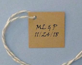 25 square tags kraft tags mini tags bridal shower tags wedding favor tags Mr/Mrs tags bride/groom tags his/her tags custom tags gift tags