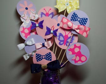 Hair Bow Baby Girl Shower Centerpiece Gift with Flower, Butterflies and Bows