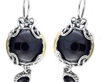 Silver and Gold Earrings, Black Onyx Earrings, Sterling Silver Earrings,  Silver Jewelry
