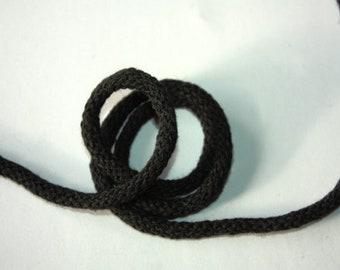 5 mm BLACK Cotton Rope = 5 Yards = 4.57 Meters of Elegant Cotton Braided Cord -Bulky Yarn-Super Bulky Yarn-Macrame Cotton Cord-Crochet Yarn