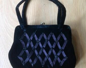 Black Velvet Handbag