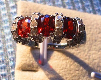 Sterling Silver 3 Stones Ruby&CZ Ring, New, Size P