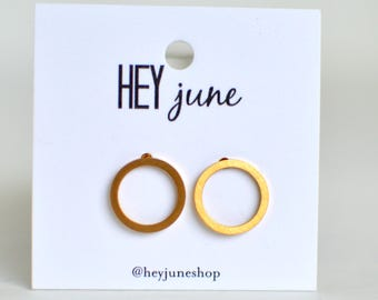 open circle stud earrings, gold open circle earrings, silver open circle earrings, open circle studs, minimalist earrings,