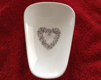 """Ceramic Spoon Rest with White Heart  5"""" Long And 3 1/2 Inches Wide at Top of Spoon"""