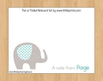 Elephant Baby Note Cards Set of 10 personalized flat or folded cards Blue Gray