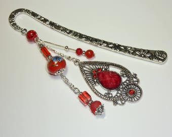 """Large bookmark Silver """"Indian"""" Ruby"""