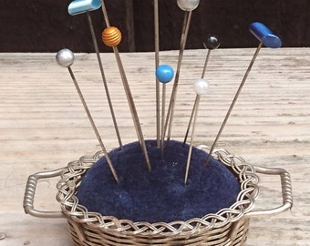 Vintage basket design pin cushion with 11 vintage pins