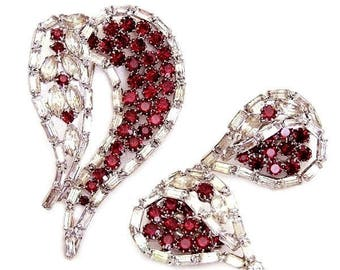 Weiss Siam Red and Clear Baguette Brooch with Clip Earrings