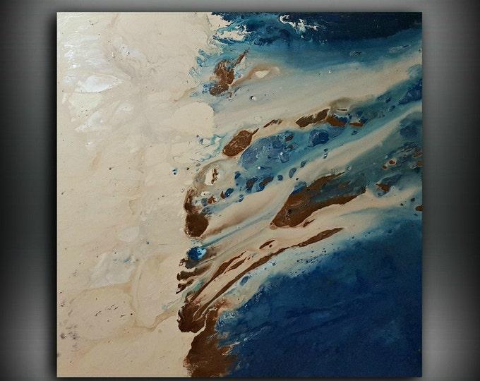 Huge Painting, ORIGINAL Painting, Acrylic Painting Abstract Painting, Coastal Painting, XL Extra Large Wall Art, Coastal Home Decor 48 x 48