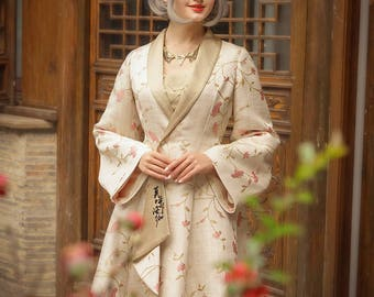 Vintage Floral Jacquard Oversize Retro Long Coat Midi Casual Spring Jacket