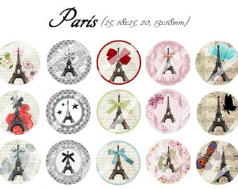 INSTANT DOWNLOAD Bottle cap images paris
