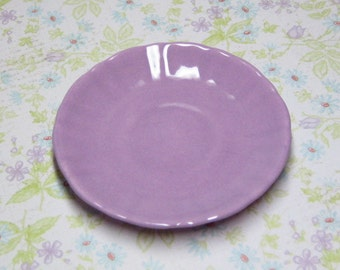 69mm miniature plate in lavender for your 18 inch doll American Girl or party favor ceramic dish