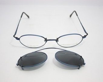 Neostyle NOS Vintage Eyeglasses College 107 47mm Blue with clip on sunglasses oval