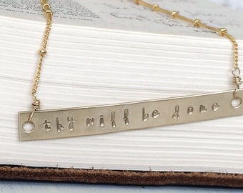 thy will be done - hand stamped gold bar plate necklace - scripture necklace - Christian Jewelry