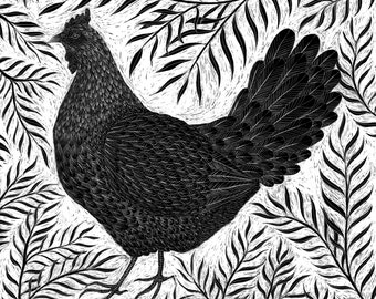 Original Scaperboard Artwork - Hen with Willow
