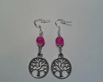 Tree of life with fuchsia beads earrings.