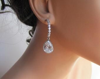 Bridal drop earrings, radiant pear cut drop w/ diamond look alike wedding jewelry