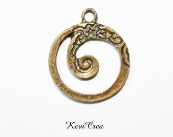 5 x charms Medallion spiral bronze flowers