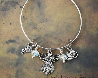 Angel Adjustable Bangle  Silver Charms Crystals