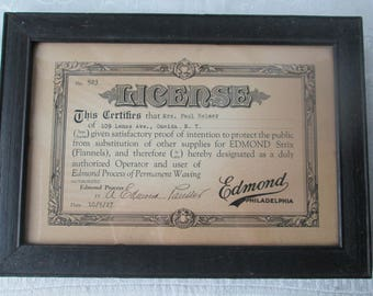 Vintage Hairdressing License, Framed 1927 License to Use the Edmond Process of Permanent Waving