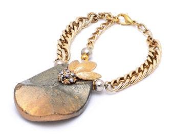 Faceted Pyrite Chain Bracelet