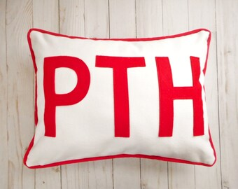 Custom Monogram Pillow Cover with 3 initials, Block Letters, 2 sizes available fit a 12 x 16 insert or standard bed pillow (20x26)