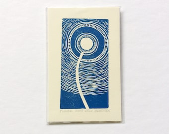 mini linocut - FLOWER // printmaking // block print // nature art // night // dandelion // blue // original art // miniature // small